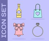 Set Diamond Engagement Ring, Champagne Bottle, Ringing Bell And Shopping Bag With Heart Icon. Vector poster
