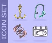 Set Calendar With A Fish, Fishing Hook, Fish And Fishing Rod And Fish Icon. Vector poster