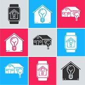 Set Smart Watch With Smart House And Light Bulb, Smart House And Light Bulb And Smart House And Ligh poster