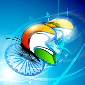 Indian Flag butterfly on shiny Asoka wheel background. EPS 10.