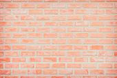 Background Of Wide Old Red Brick Wall Texture. Old Orange Brick Wall Concrete Or Stone Wall Textured poster