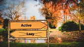 Street Sign The Direction Way To Active Versus Lazy poster