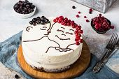 St. Valentines Day, Mothers Day, Birthday Cake. Festive Dessert. Womans Day Cake. Cake For Valentine poster