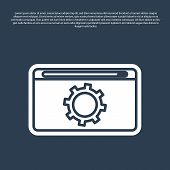 Blue Line Setting Icon Isolated On Blue Background. Adjusting, Service, Maintenance, Repair, Fixing. poster
