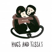 Monkeys Hugging Each Other. Love Animal Pattern. Capuchin Monkey. Hugs And Kisses Quote. Hand Drawn  poster