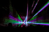 Colorful Laser Show Nightlife Club Stage With Party People Crowd. Luxury Entertainment With Audience poster