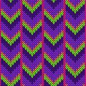 Fairisle Downward Arrow Lines Knitted Texture Geometric Vector Seamless. Fair Isle Sweater Knitwear  poster