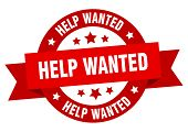 Help Wanted Ribbon. Help Wanted Round Red Sign. Help Wanted poster