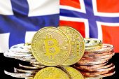 Concept For Investors In Cryptocurrency And Blockchain Technology In The Finland And Norway. Bitcoin poster