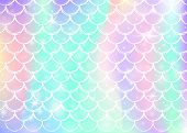 Rainbow Scales Background With Kawaii Mermaid Princess Pattern. Fish Tail Banner With Magic Sparkles poster