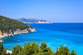 A View From Above Of The Famous Myrtos Bay On Kefalonia, One Of The Most Idyllic Beaches Of The Gree poster