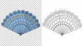 Asian Fans. Colored Hand Traditional Fan Isolated On Transparent Background, Paper Folding Painting  poster
