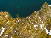 Clear Blue Sea Water With Stone Rocky Shore. Top Down View. Norwegian Nature. poster