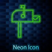 Glowing Neon Line Open Mail Box Icon Isolated On Brick Wall Background. Mailbox Icon. Mail Postbox O poster