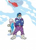 picture of adversity humor  - Happy heliboarder with his brand new snowboard is standing proudly on the mountain top - JPG