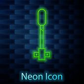 Glowing Neon Line Torch Flame Icon Isolated On Brick Wall Background. Symbol Fire Hot, Flame Power,  poster
