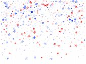 American Memorial Day Stars Background. Holiday Confetti In Usa Flag Colors For Patriot Day.  Poster poster