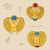 Hand Drawn Golden Egyptian Scarabs With Hieroglyphs poster