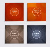 Cool Vinyl Records Music Album Covers Set. Semicircle Curve Lines Patterns. Minimal Creative Vinyl M poster
