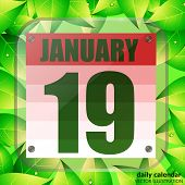 January Icon. For Planning Important Day. Banner For Holidays And Special Days With Green Leaves. Ni poster
