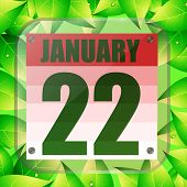 January 22 Icon. For Planning Important Day With Green Leaves. Banner For Holidays And Special Days. poster