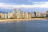 Aerial View Of Two Brazilian Coastal Cities Of The Paulista Coast. End Of Praia Do Itarare Beach At  poster