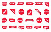 New Sticker Collection. Sale Ribbons Set. Red Discount Labels On White Backdrop. Shopping Tags. New  poster