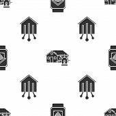 Set Smart Watch With Smart Home With Wi-fi, Smart House And Alarm And Smart Home On Seamless Pattern poster