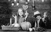 Children Presenting Farm Harvest Wooden Background. Farm Market. Kids Farmers Girl Boy Vegetables Ha poster