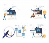 Set Of Cybercriminals Cracking Software. Flat Vector Illustrations Of People Breaking Into Computer. poster