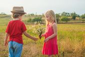 Childhood Concept. Sweet Angel Children. Childhood On Countryside. Valentines Day. Love. Human Emoti poster
