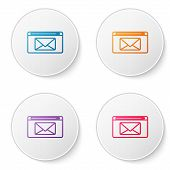 Color Line Mail And E-mail Icon Isolated On White Background. Envelope Symbol E-mail. Email Message  poster