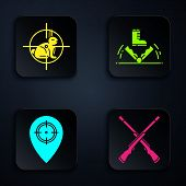Set Two Crossed Shotguns, Hunt On Rabbit With Crosshairs, Hunt Place And Trap Hunting. Black Square  poster