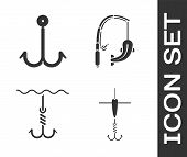 Set Fishing Hook And Float, Fishing Hook, Fishing Hook Under Water And Fishing Rod And Fish Icon. Ve poster