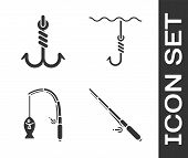 Set Fishing Rod, Fishing Hook, Fishing Rod And Fish And Fishing Hook Under Water Icon. Vector poster