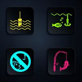 Set Fishing Rod And Fish, Fishing Float In Water, No Fishing And Fishing Hook Under Water With Fish. poster