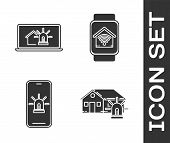 Set Laptop With Smart House And Alarm, Mobile Phone With Smart House And Alarm And Smart Watch With  poster