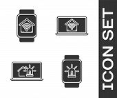 Set Smart Watch With Smart Home With Wi-fi, Laptop With Smart House And Alarm And Laptop With Smart  poster