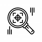 Black Line Icon For Finder Search Quest Discovery Find poster