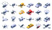 Unmanned Taxi Icons Set. Isometric Set Of Unmanned Taxi Vector Icons For Web Design Isolated On Whit poster