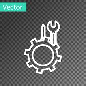 White Line Wrench And Screwdriver In Gear Icon Isolated On Transparent Background. Adjusting, Servic poster