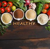 Gluten Free Grains And Vegetables -  Amaranth,  Sorghum Grain, Teff And Millet poster