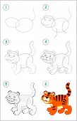 How To Draw Step By Step A Cute Little Toy Tiger. Educational Page For Kids. Back To School. Develop poster