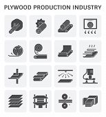 Plywood Production Industry Icon Set For Plywood Production Industry Design Element. poster