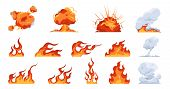 Cartoon Fire Flame. Flat Fireball Smoke And Explosion Effects, Flames Of Different Shapes. Vector Fi poster