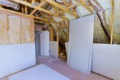 Construction Materials Plasterboard Drywall Are Prepared For Working Process Installing Hvac Vents B poster