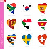 Сollection Of Flags In The Shape Of A Heart. 9 Heart Icon With Flag Of Country South Africa, South K poster