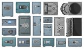Bank Safe Vector Cartoon Set Icon. Isolated Set Cartoon Icon Secure Box.vector Illustration Bank Saf poster