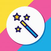 Vector Illustration Of Magic Wand Icon Colored Line. Beautiful Entertainment Element Also Can Be Use poster