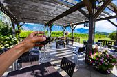 Hand Holding A Glass Of Red Wine Selective Focus View Against Outdoor Wine Tasting Patio, Winery Ter poster